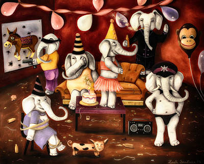 Boombox Painting - White Elephant Party Edit 4 by Leah Saulnier The Painting Maniac