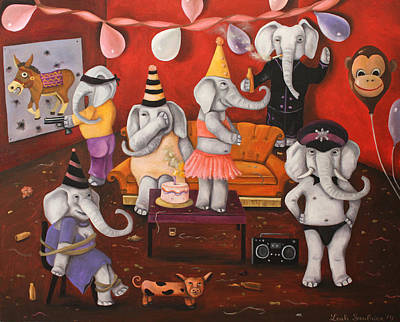 White Elephant Party Original by Leah Saulnier The Painting Maniac