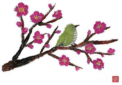 Painting - White Eye And Japanese Plum Tree by Keiko Suzuki