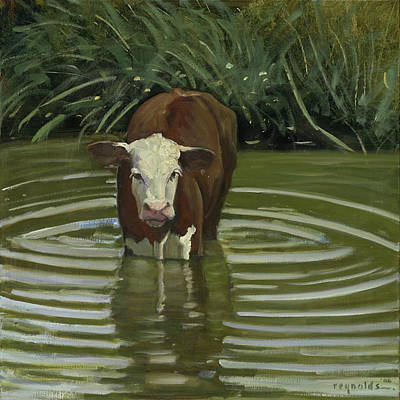 Art Print featuring the painting White Face Herford In The Pond by John Reynolds