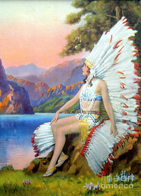 Indian Maiden Painting - White Feather by R Atkinson Fox