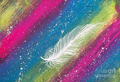 Spiritual.realistic Painting - White Feather With Background Stripes by Simon Bratt Photography LRPS