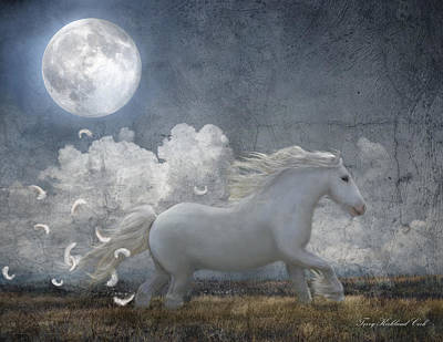 White Feathered Moon Art Print by Terry Kirkland Cook