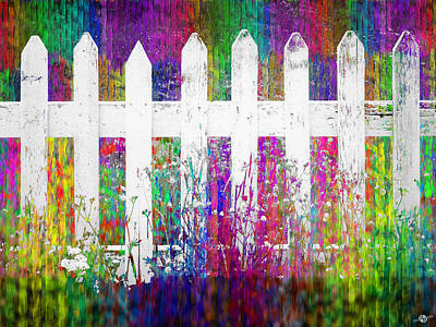Picket Mixed Media - White Fence 1 by Tony Rubino