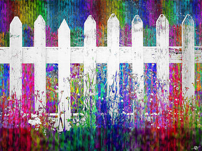Picket Mixed Media - White Fence 2 by Tony Rubino
