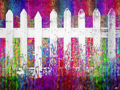 Painting - White Fence 3 by Tony Rubino