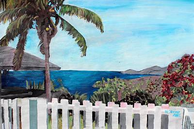 Office Wall Painting - White Fence At English Harbour Antigua West Indies by M Bleichner