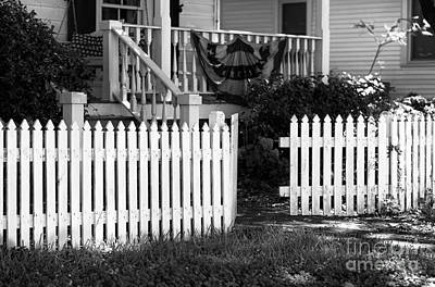 Photograph - White Fence In Southport Mono by John Rizzuto