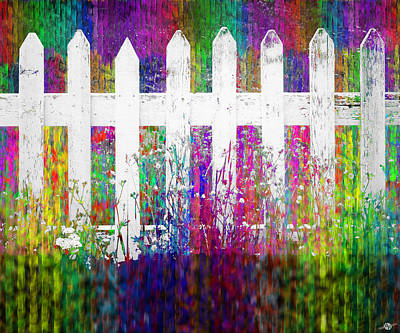 Picket Mixed Media - White Fence Large by Tony Rubino