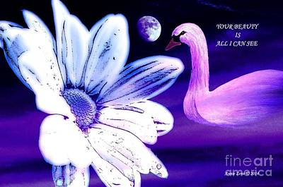 Painting - White Flower Moon And Swan by Annie Zeno