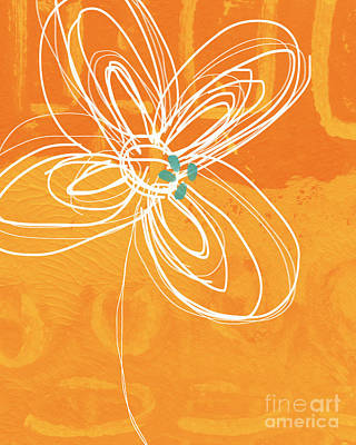 Abstract Flowers Painting - White Flower On Orange by Linda Woods