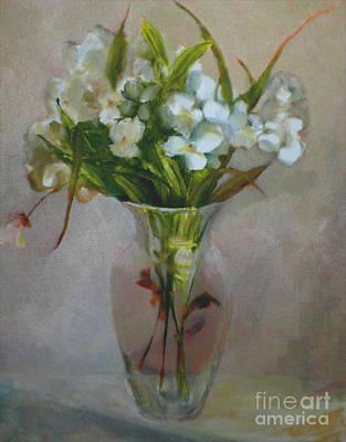 White Flowers        Copyrighted Art Print by Kathleen Hoekstra