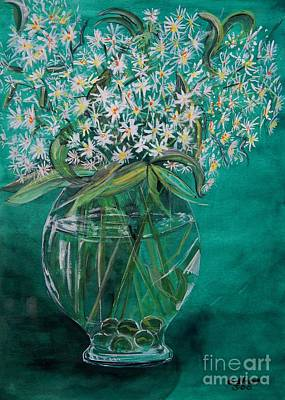 Viridian Painting - White Flowers And Marbles In Glass Vase by Caroline Street