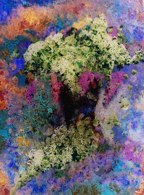 White Flowers In A Vase Print by Lee Green