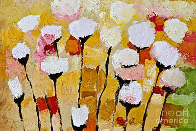 Flower Abstract Painting - White Flowers by Lutz Baar