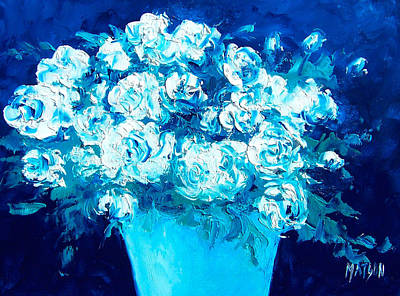 Interior Still Life Painting - White Flowers On Blue by Jan Matson