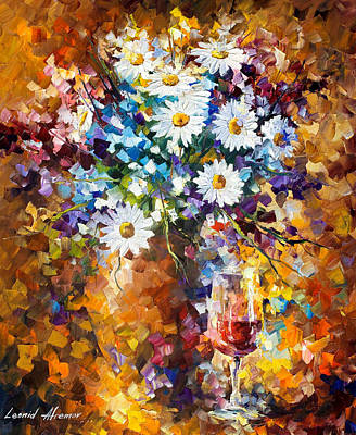 White Flowers - Palette Knife Oil Painting On Canvas By Leonid Afremov Original by Leonid Afremov