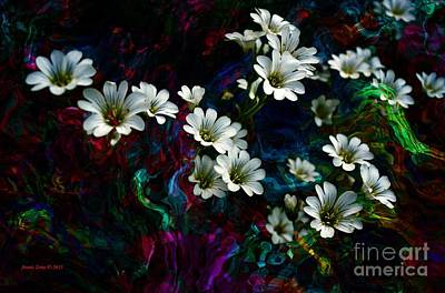 Photograph - White Flowers With Flowing Colors by Annie Zeno