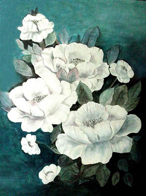 White Flowers Art Print by Zelma Hensel