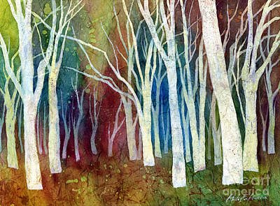 Modern Tree Painting - White Forest I by Hailey E Herrera
