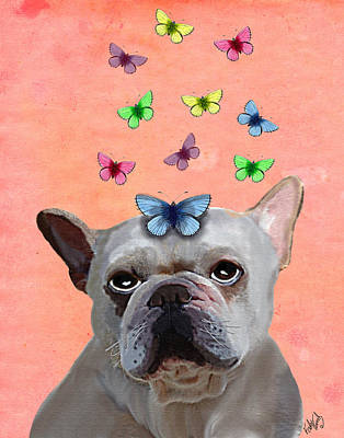 White French Bulldog And Butterflies Art Print by Kelly McLaughlan