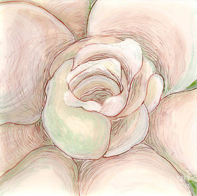 Reverse On Plexiglass Painting - White Gardenia 2 by Anna Skaradzinska