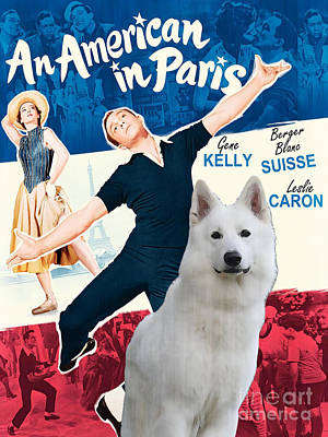 An American In Paris Painting - White German Shepherd Art Canvas Print - An American In Paris Movie Poster by Sandra Sij