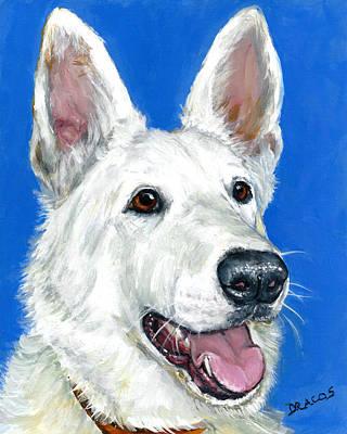 White German Shepherd Dog Painting - White German Shepherd On Blue by Dottie Dracos