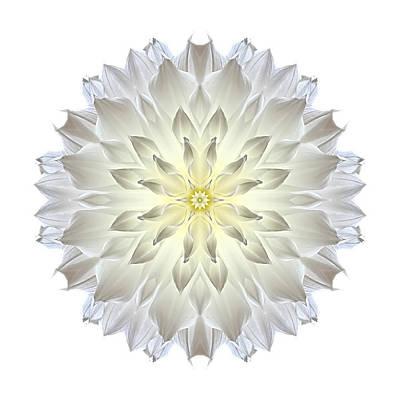 Giant White Dahlia I Flower Mandala White Art Print