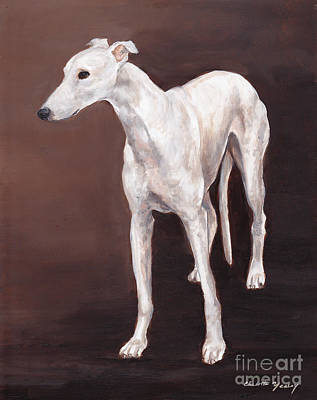 Painting - White Greyhound by Charlotte Yealey