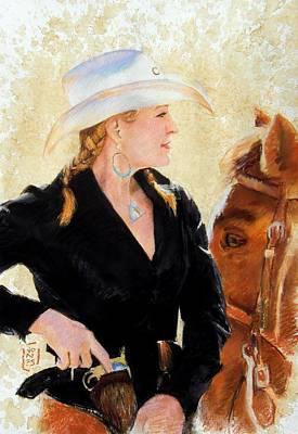 Debra Jones Drawing - White Hat by Debra Jones