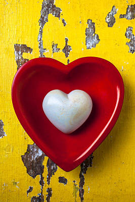 White Heart Red Heart Print by Garry Gay