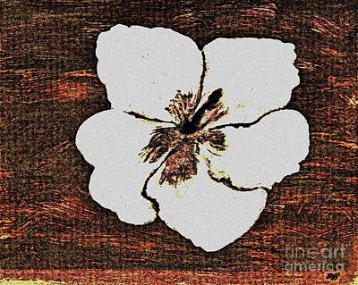 Abstract Digital Painting - White Hibiscus Digital Painting by Marsha Heiken