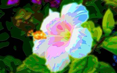 Digital Art - White Hibiscus Flower Art by Mary Clanahan