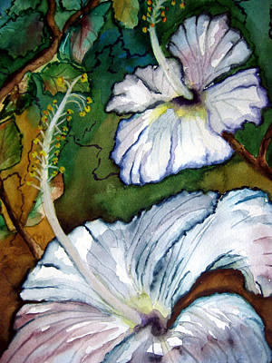 White Hibiscus Art Print by Lil Taylor