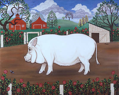 Chef Painting - White Hog And Roses by Linda Mears