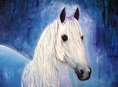Wildlife Imagery Painting - White Horse by Doris Cohen