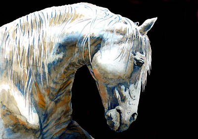 White Horse In Black Print by Jose Espinoza