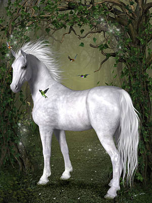 Animals Digital Art - White Horse in the Woods by Jayne Wilson