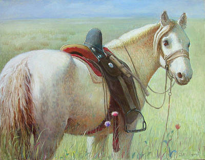 Painting - White Horse No.5  by Ji-qun Chen