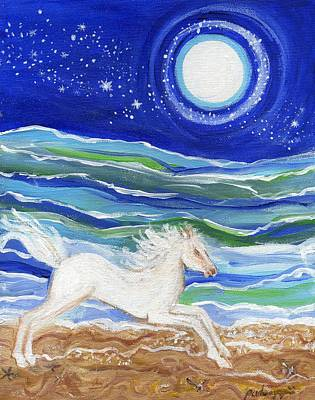 White Horse Of The Sea Art Print