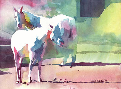 Indiana Painting - White Horses by Kris Parins