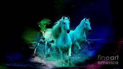 Horse Mixed Media - White Horses by Marvin Blaine