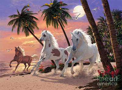 Moonlight Beach Digital Art - White Horses by Steve Read