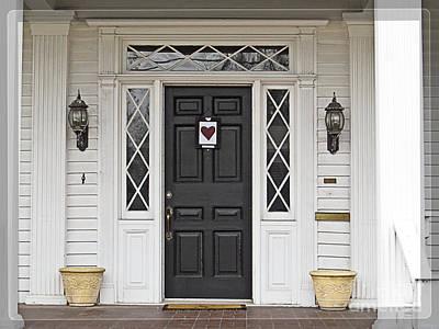 White House Black Door Red Heart Print by Ella Kaye Dickey