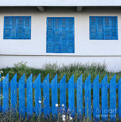 Romania Photograph - White House Blue Fence by Maren Misner