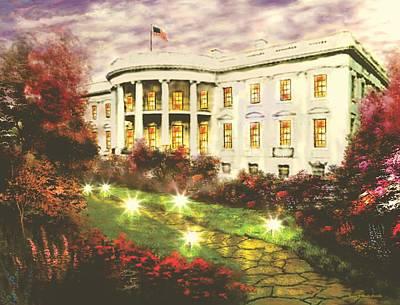 Water Painting - White House by Jessie J De La Portillo