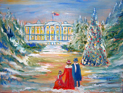 Staircase Painting - White House On A Hill by Patricia Taylor