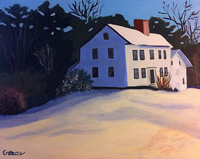 Painting - White House On A Snowy Hill by Jane Croteau