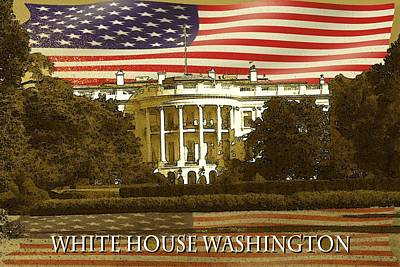Sightseeing Drawing - White House Washington In Red White Blue by Art America Gallery Peter Potter